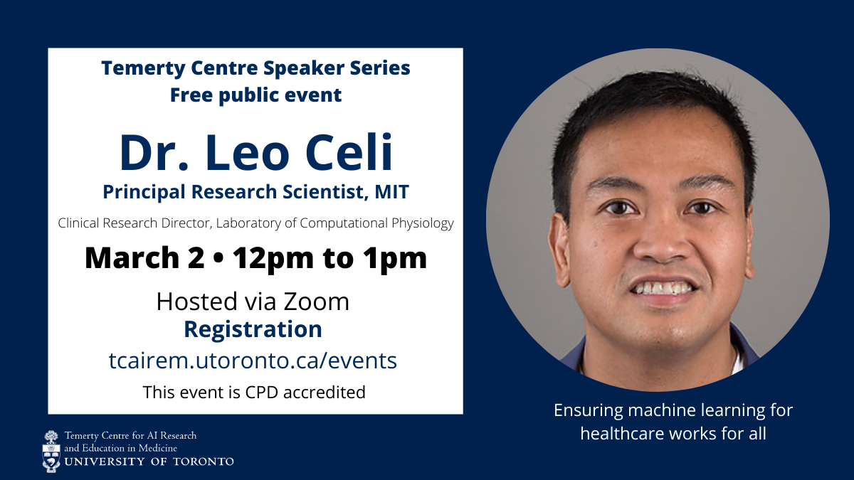 Dr. Leo Celi photo for his upcoming talk on March 2, 2021